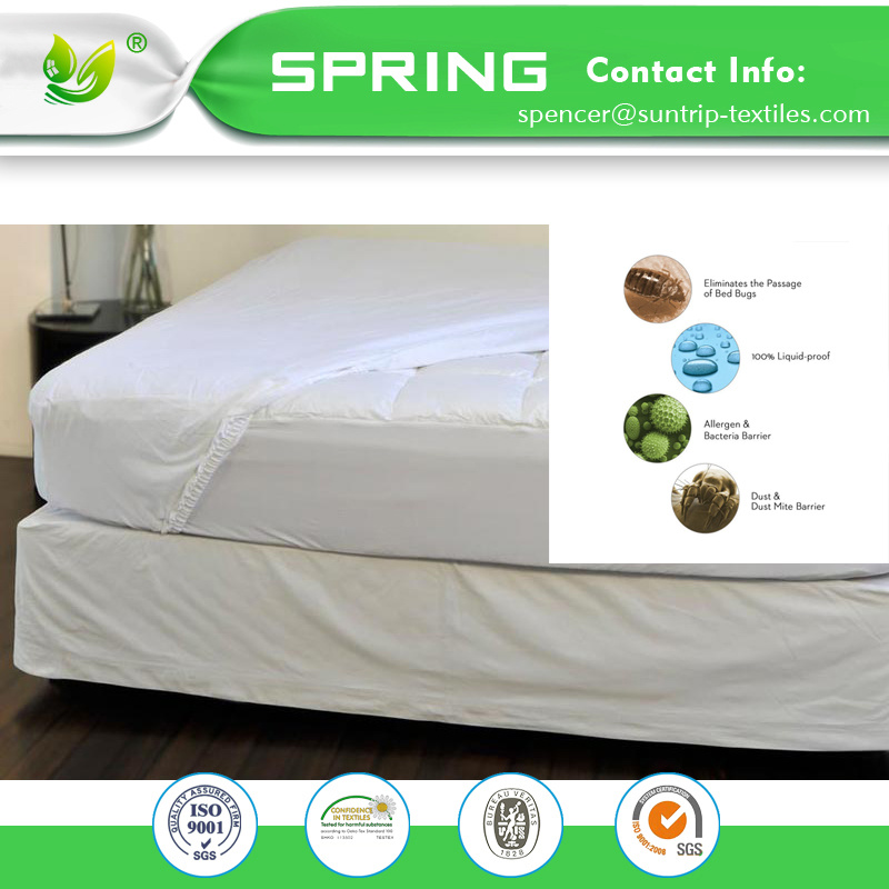 [Hot Item] Luxury Cotton Terry Hypoallergenic Fitted Style Waterproof 100%  Mattress Protector Cover 10 Year Warranty