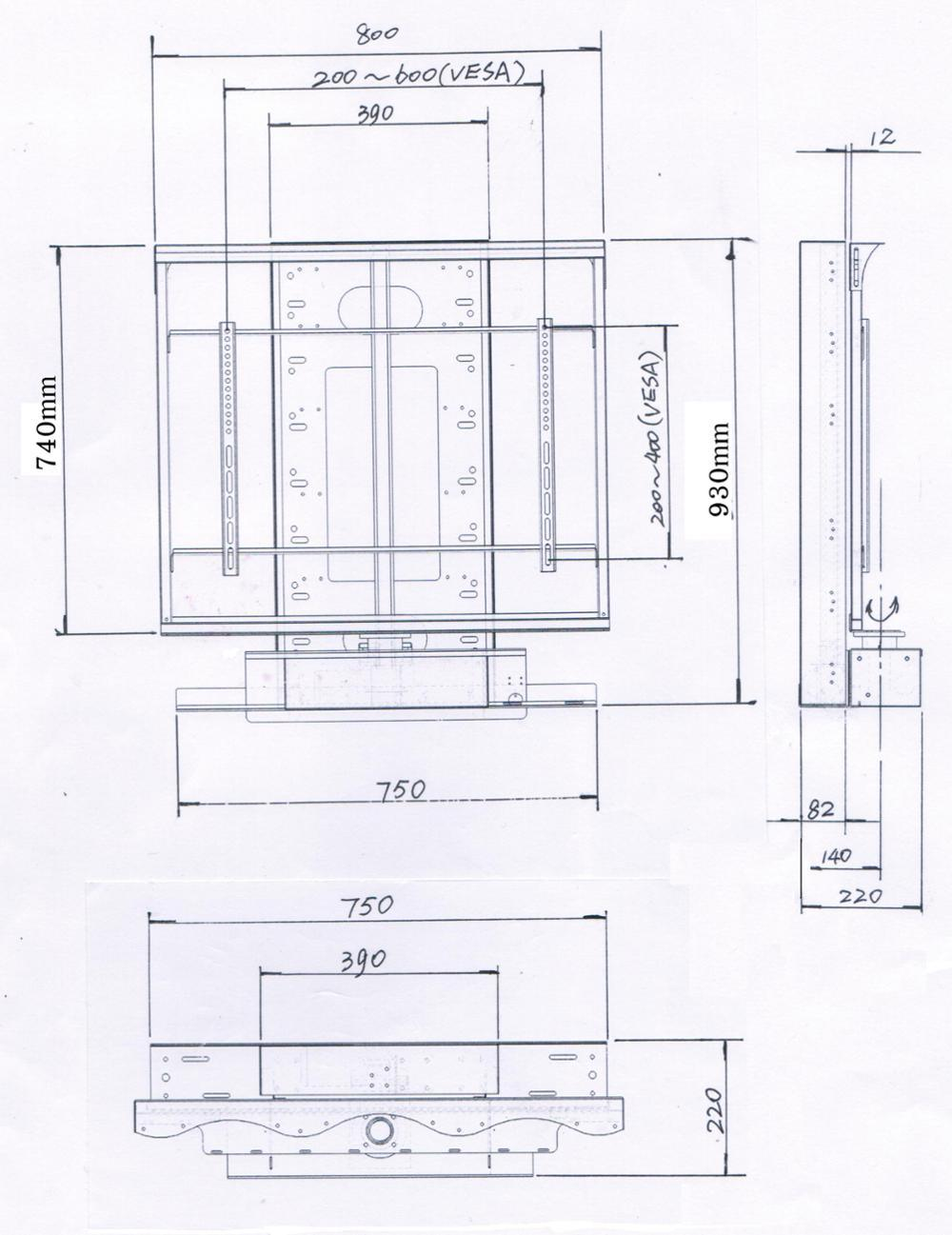 China Motorized Tv Stand For 26 70tvs Ir Remote Control Lift Circuit Diagram Vesa Up To 600400