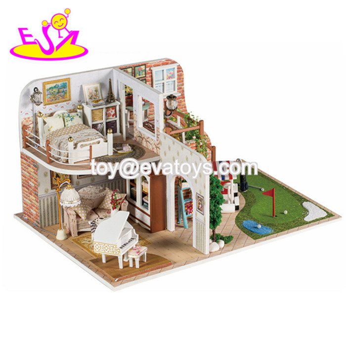 [Hot Item] DIY Dollhouses Kids Wooden Miniature Toys with LED Light W06A346
