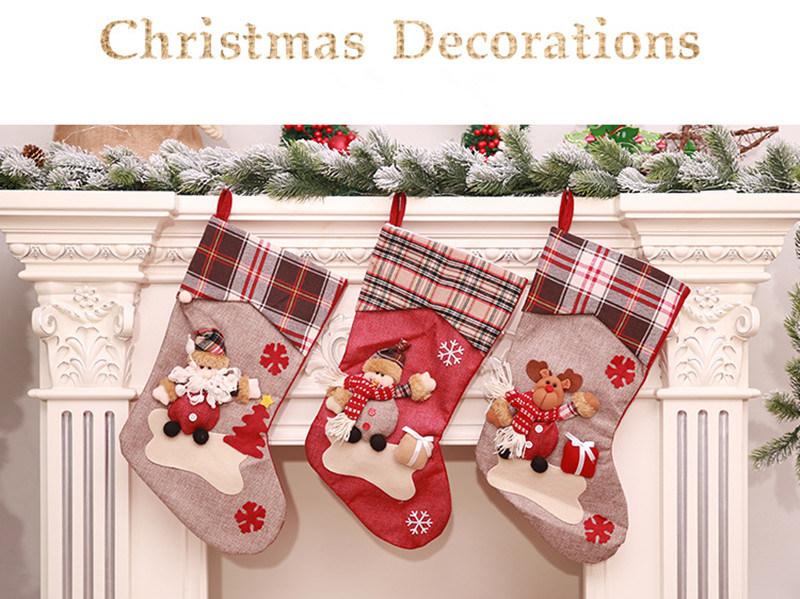 Hot Item Christmas Stockings Cute Toys Stockings Candy Socks Gifts Bag Christmas Tree Hanging Xmas Decoration