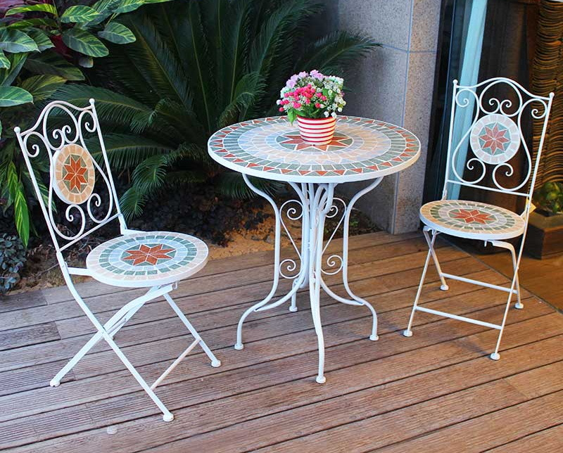China Country Style Mosaic Garden Dining Table Patio Furniture