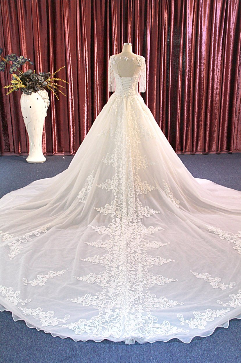 China 2018 Long Sleeves Muslim Bridal Dress Wedding Gown Long Train ...