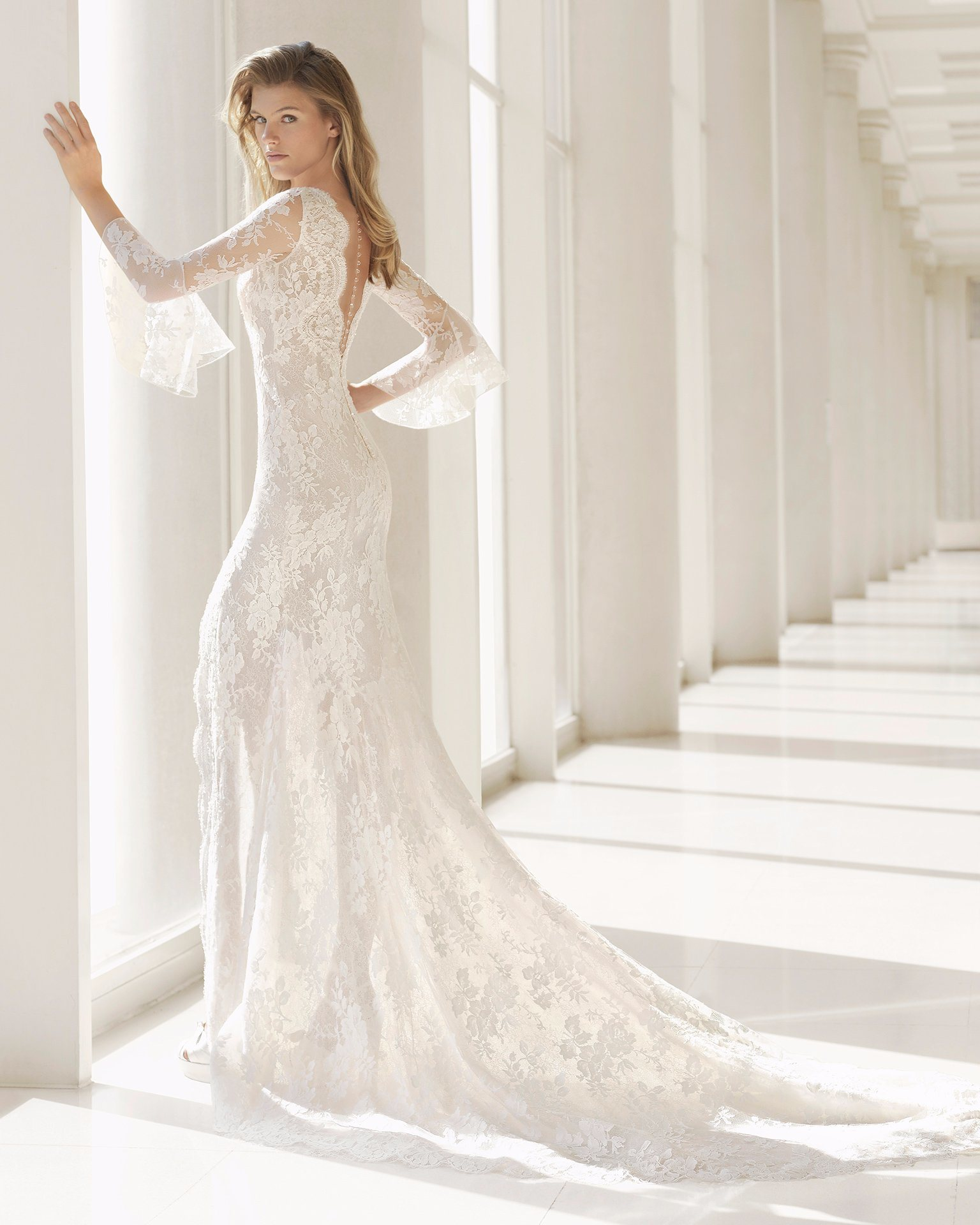 e1906720f4 Falbala Long Sleeve Deep V Neck Front Split Lace Bridal Prom Dress Wedding  Gown
