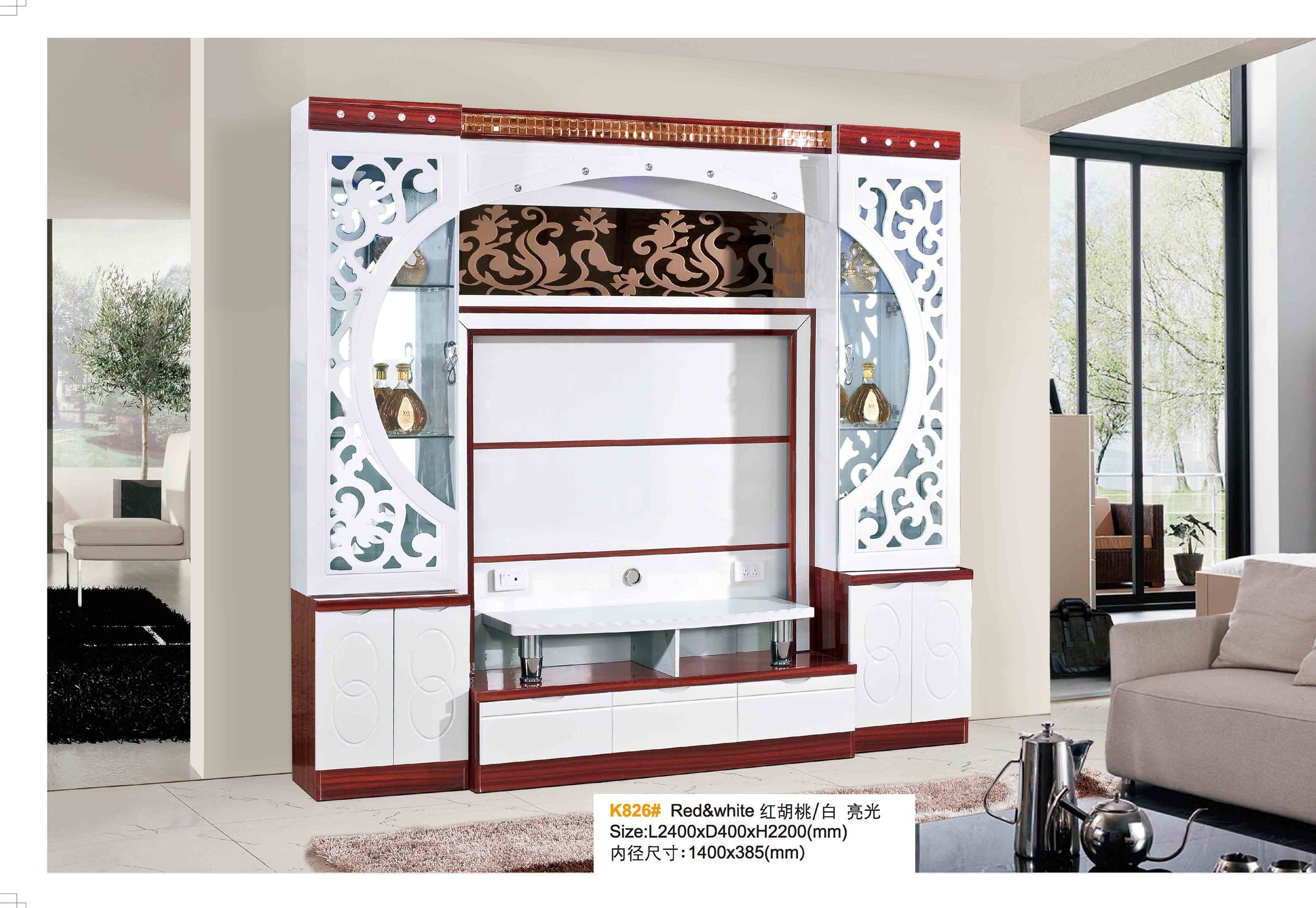 China Living Room Furniture Wood White Black Hall Wine Cabinet TV ...