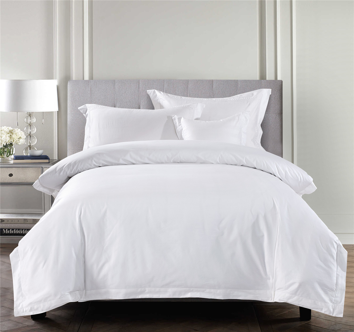 China 100 Cotton Satin Fabric 300tc White Bed Sheet Bedding Set Wholesale Hotel Home China Bedding Set And Hotel Linen Price