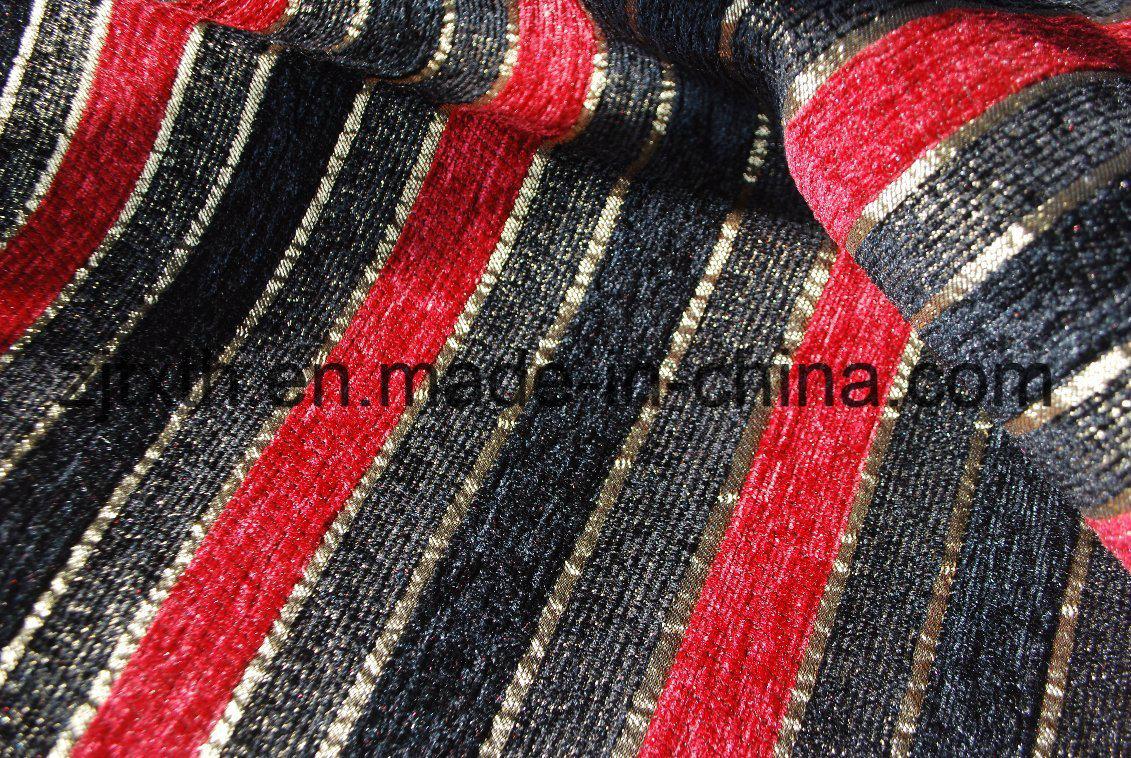 China Stripe Design Black and Red Chenille Sofa Fabric ...