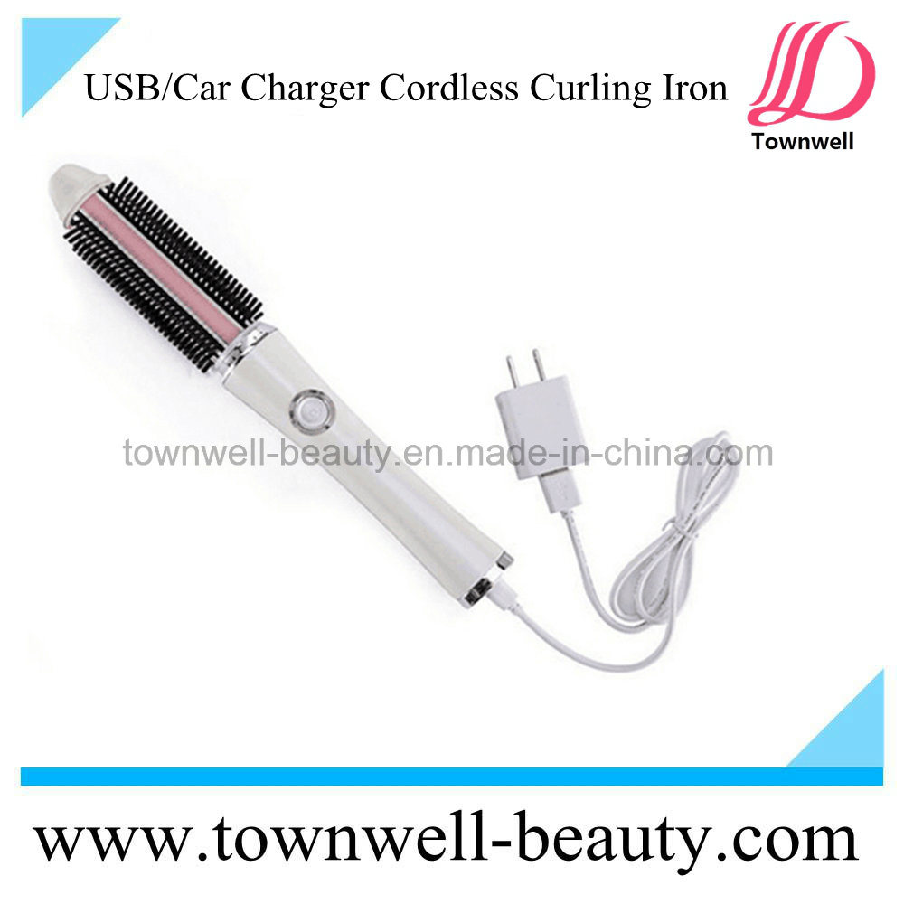 China Easy Carry Usb Hair Curler Brush Iron White And Pink Travel Convenient For Cordless Curling