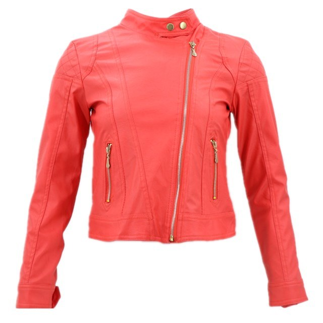 China Latest Design Leather Y Red, Fancy Winter Coats For Ladies