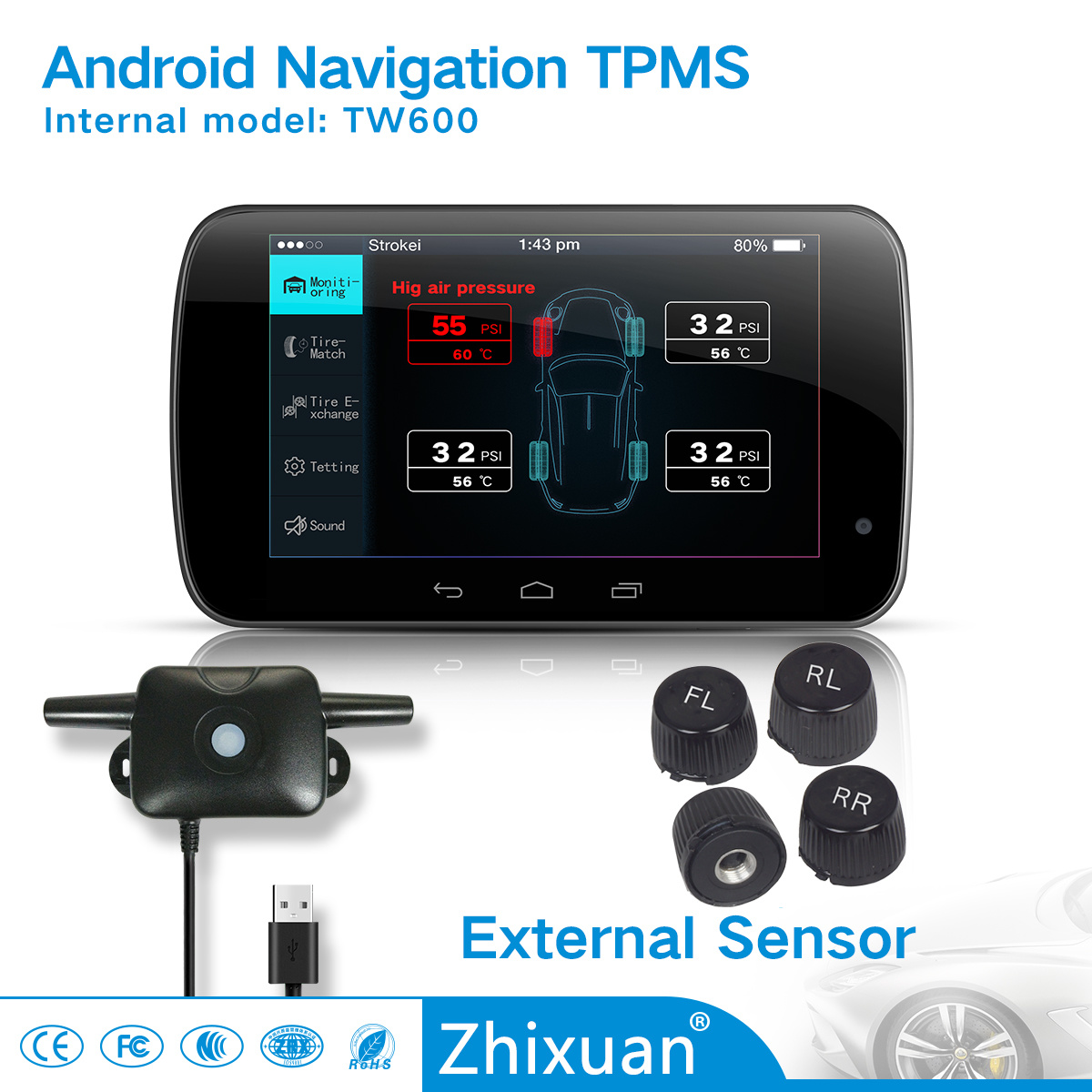 Android TPMS Car Navigation Tire Pressure Monitor System with 4sensor New 2017 pictures & photos