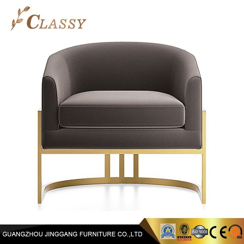 Pleasing Hot Item Leisure White Cushion Gold Metal Single Sofa Chair Pabps2019 Chair Design Images Pabps2019Com
