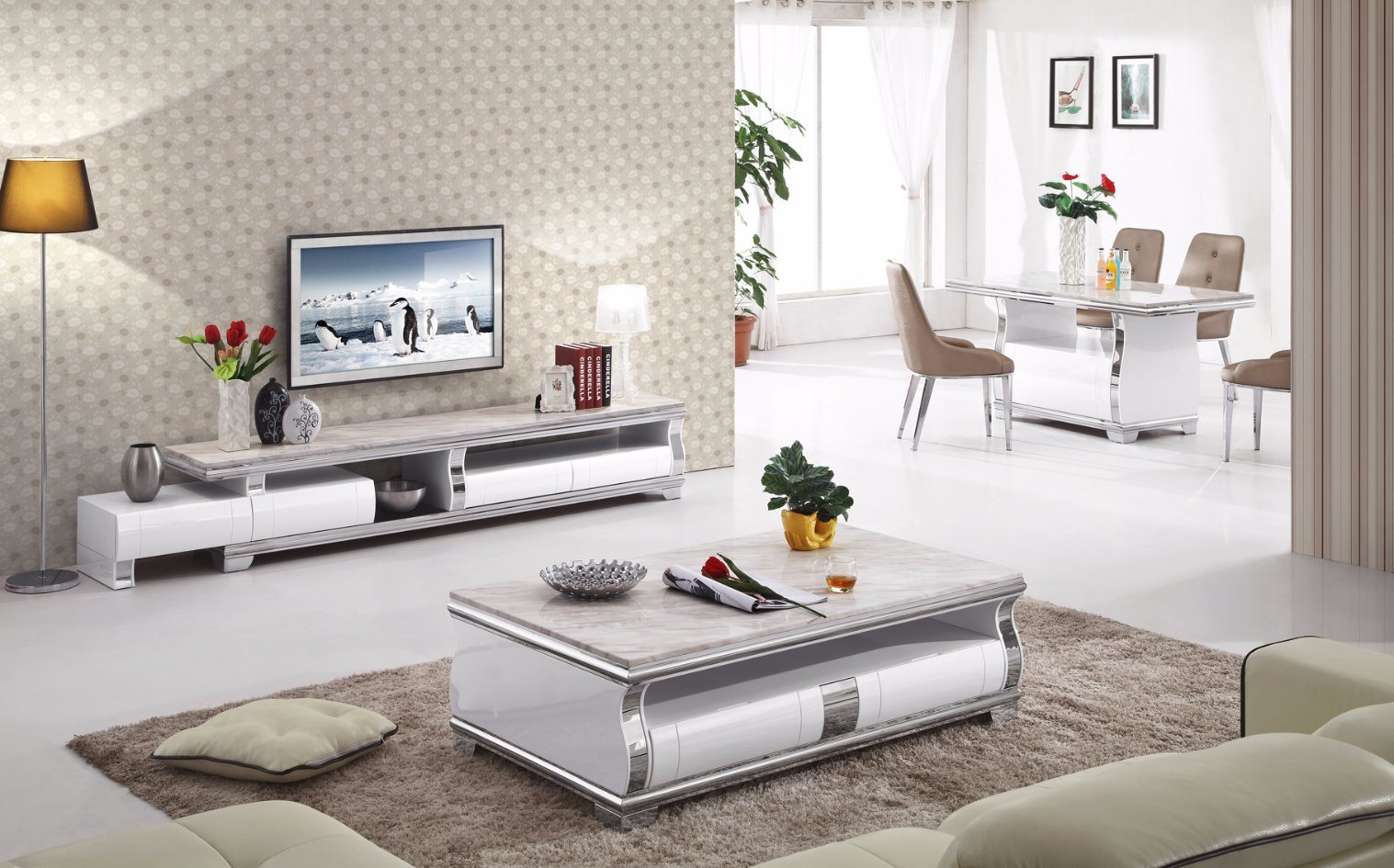 [Hot Item] Drawing Room Set with TV Stand and Coffee Table (112#)