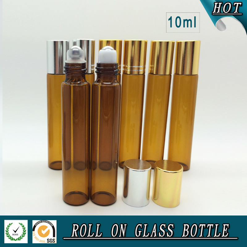10ml Amber Glass Perfume Roll on Bottle with Silver Lid and Stainless Steel Roller Ball