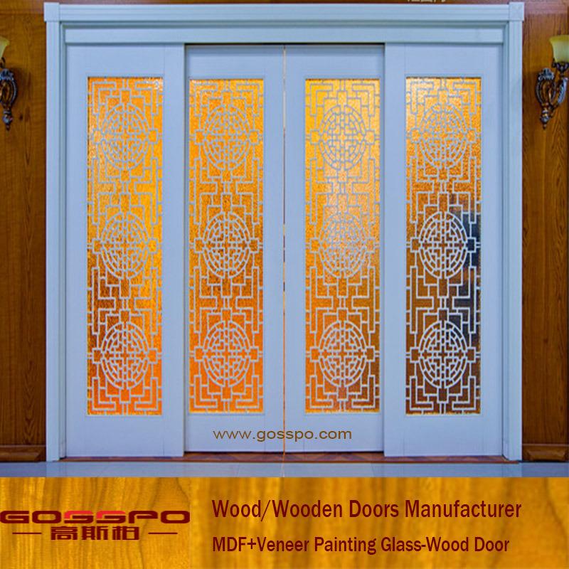 China White Paint Wood Grain Glass Sliding Door Gsp3 034 China