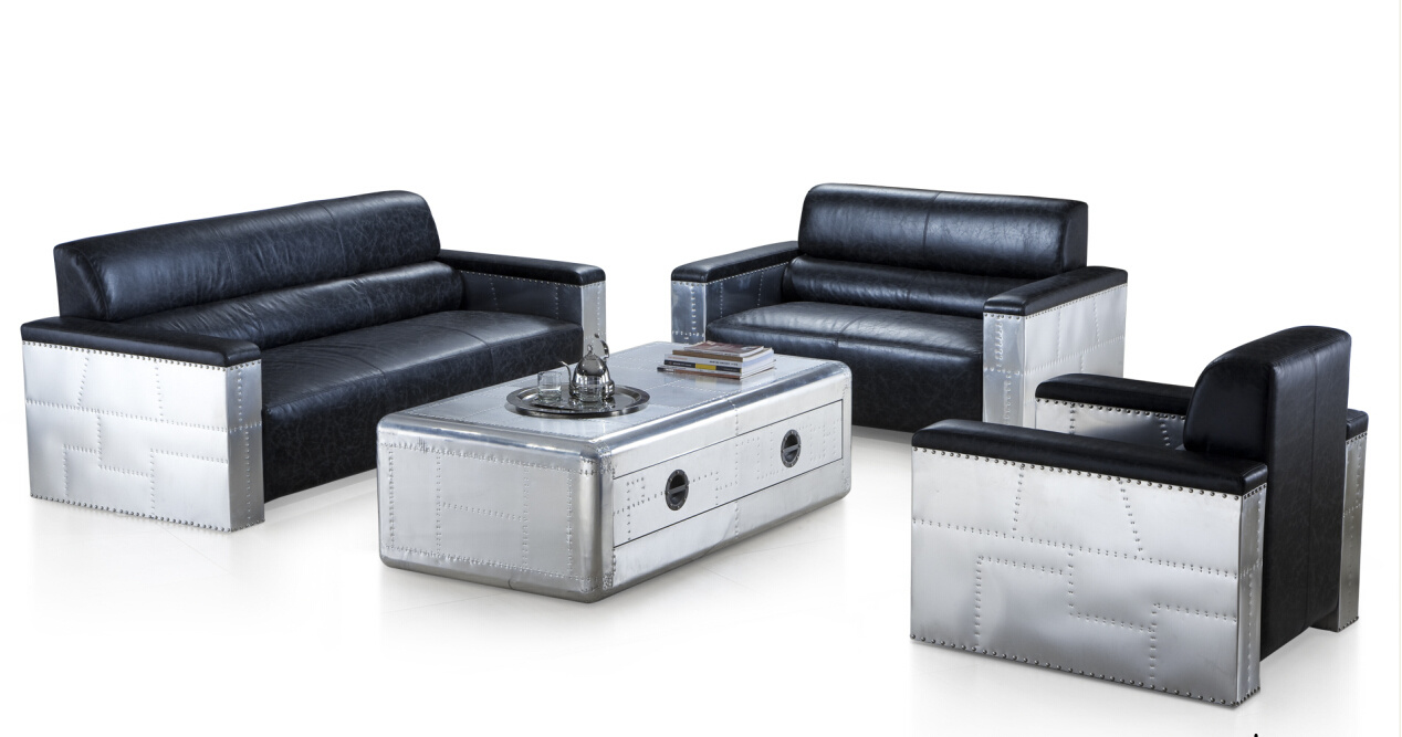 China Vintage Aluminum Covering With Italian Leather Leisure Living Room Sofa Set Sectional