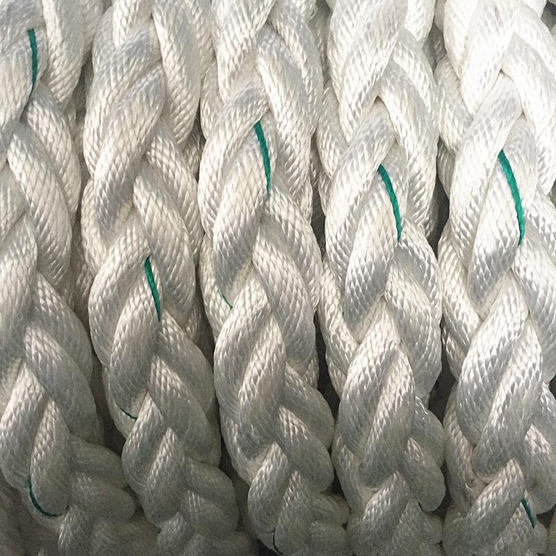White Color 8 Strand 2 1 Inch Diameter Nylon Braided Marine Ropes Used In Vessel