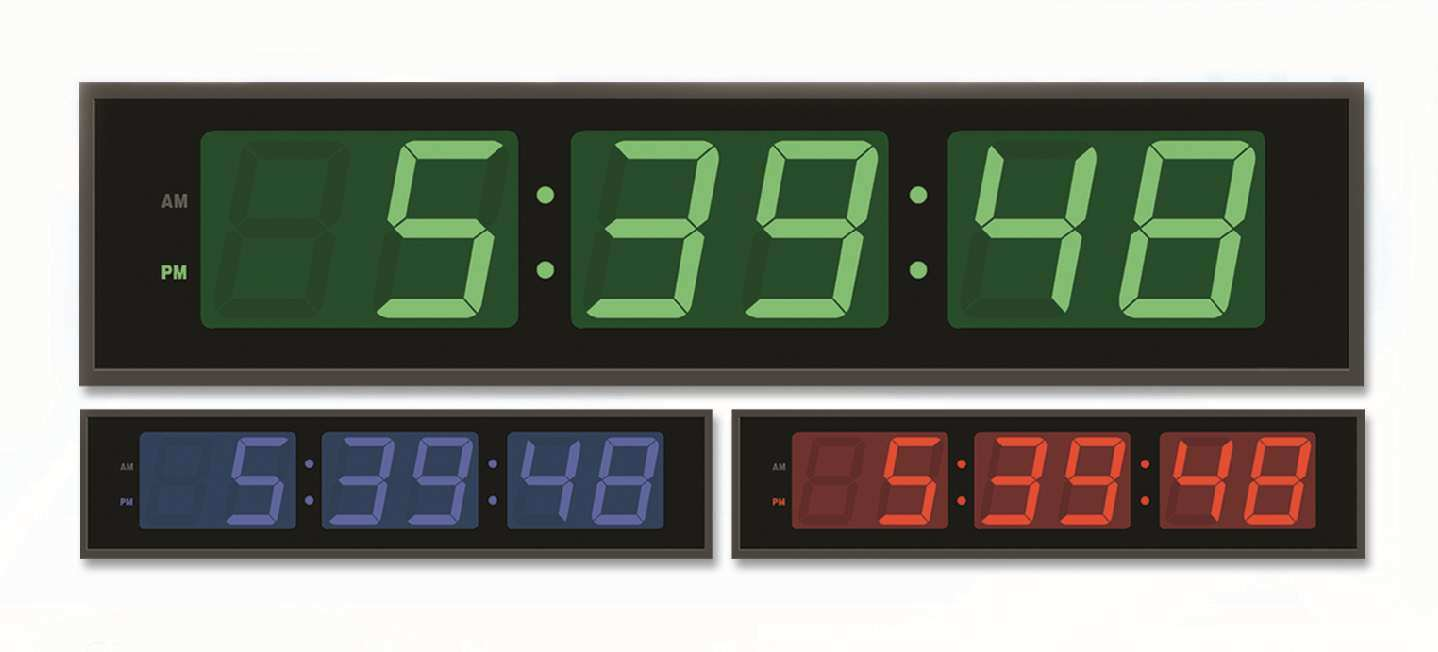 China Large Electric Large Led Color Digit Display Wall Time Clock