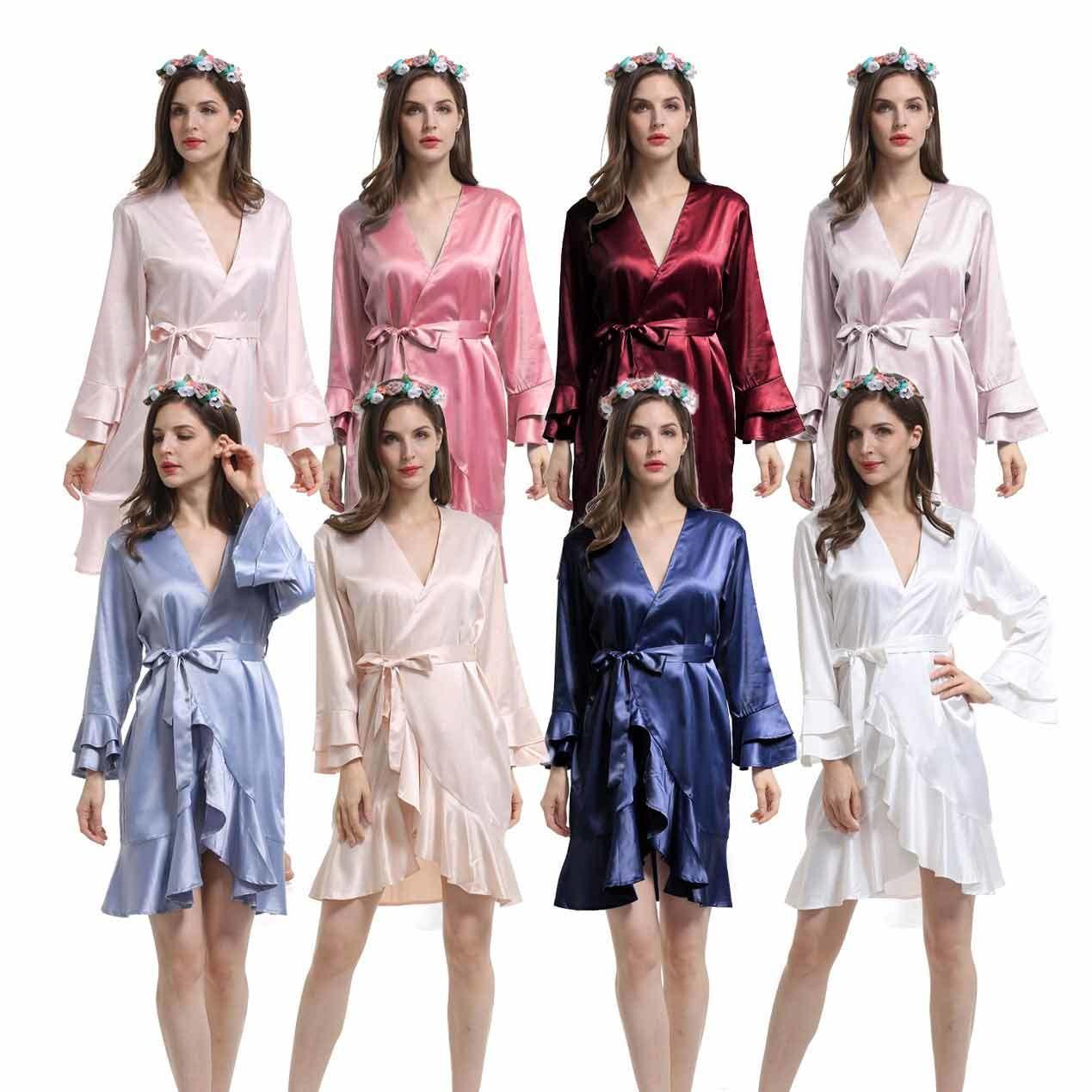 China Style No E9000 Women Plain Matte Silky Satin Ruffled Wedding Bridal Bridesmaid Robes With Matching Color Belt China Bridesmaid Robes And Satin Robes Price