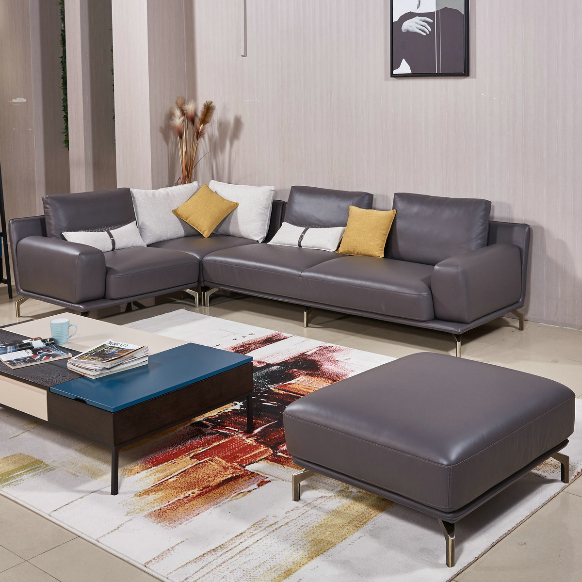Hot Item New Arrival Factory Wholesale Price Living Room Furniture Leather Sofa Set B09