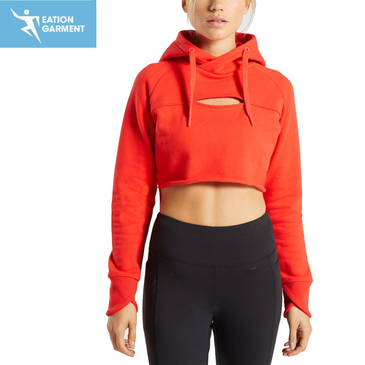 71ccbc4581 Sexy Tri-Blend Trendy Workout Training Pullover Cropped Hoodie for Ladies
