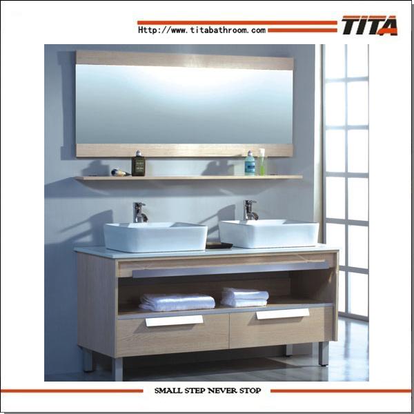 . Hot Item  Modern Bathroom Furniture Double Wash Basin Cabinet Bathroom  Furniture Guangzhou  TH9029