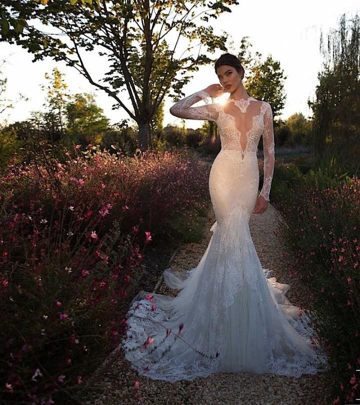 China Lace Bridal Gown Long Sleeves Berta Mermaid Wedding Dress ...