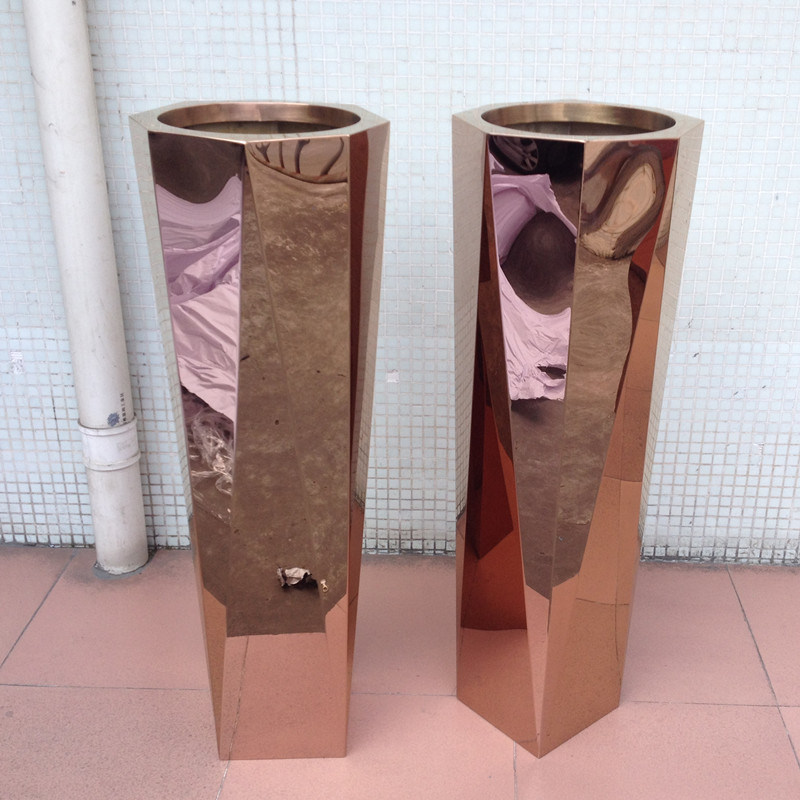 China Tall Slim Metal Flower Vase With Mirror Rose Gold Color China Metal Flower Pot And Garden Flower Pot Price