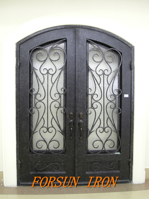 China Luxury Wrought Iron Security Door With Glass Window For Villa