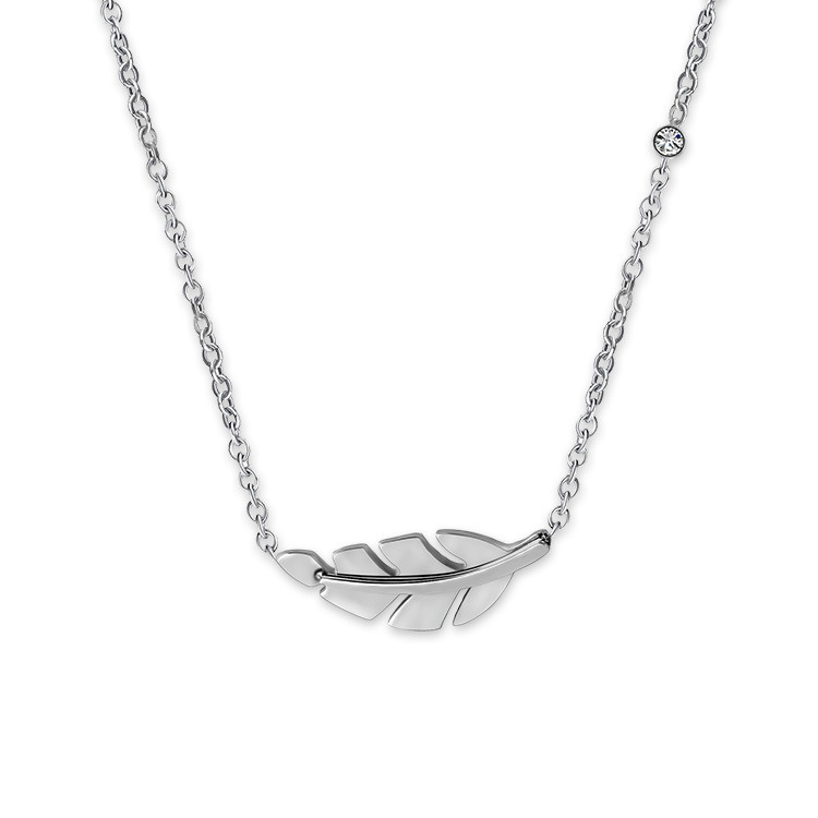 China Simple Jewelry Fashion Women Silver Leaf Pendant Necklace