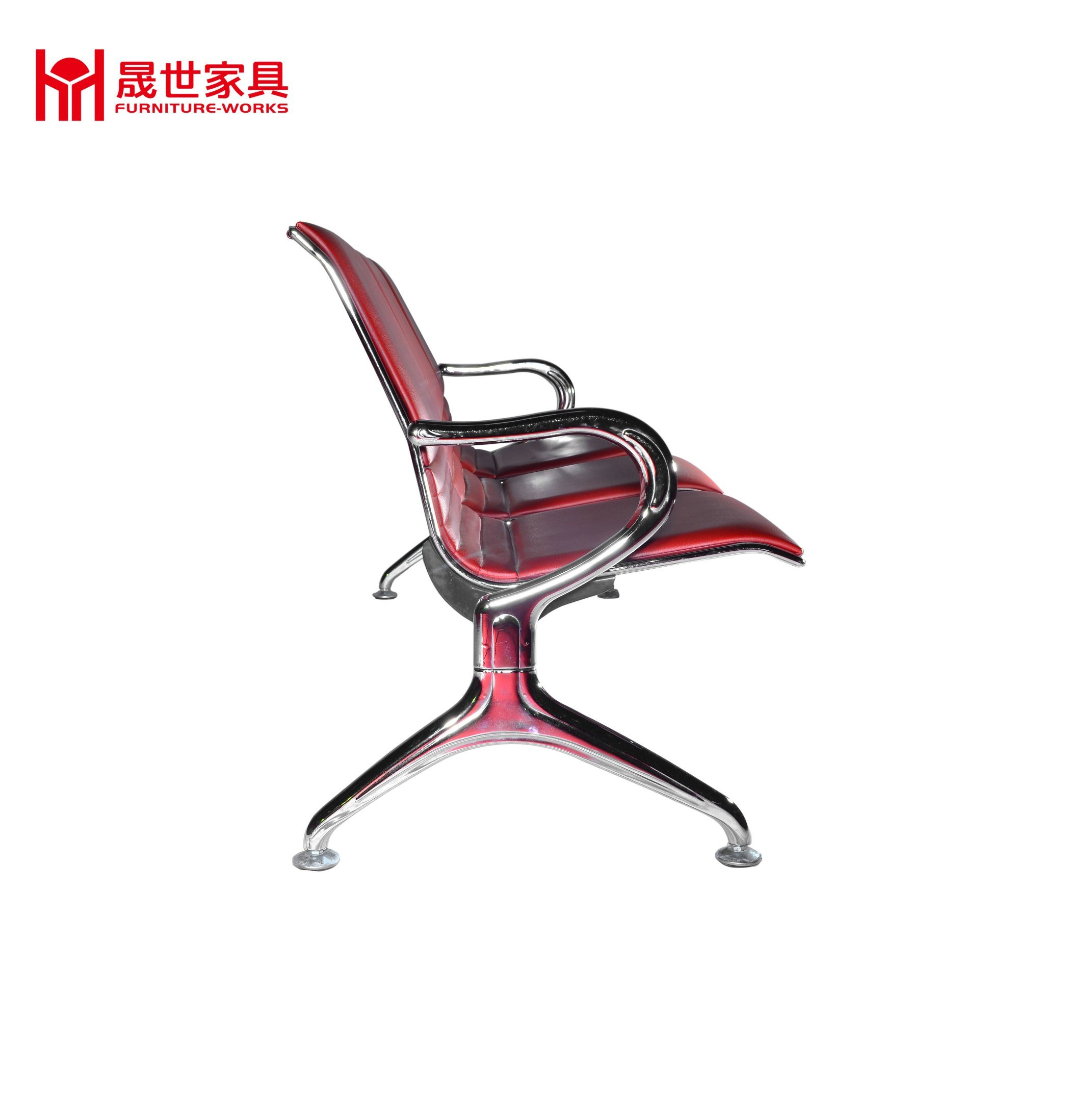 High Quality 3 Seat Full PU Padded Airport/Hospital/Station Bench Chair Waiting Area