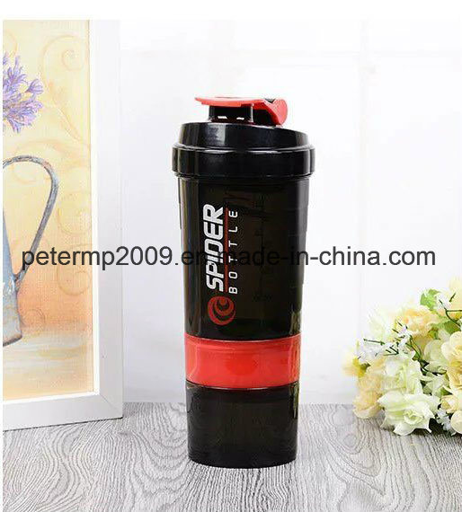 3 Layes Protein Shaker Plastic Bottles with Metal Ball pictures & photos