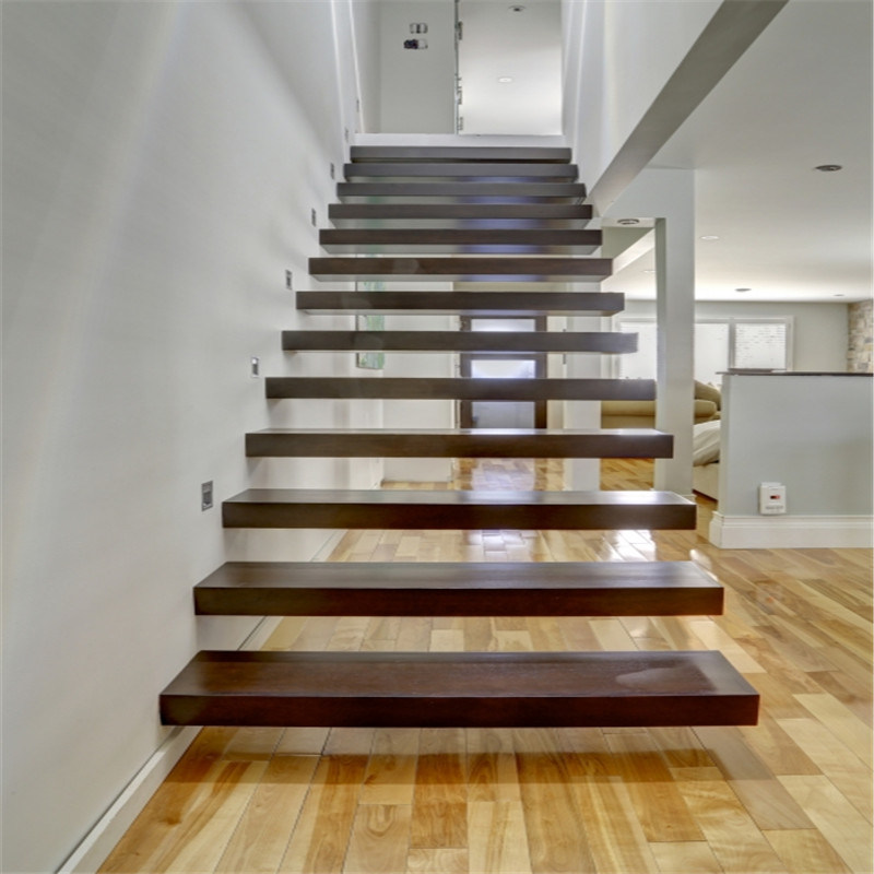 China Glass Railing Floating Staircase With Thick Solid