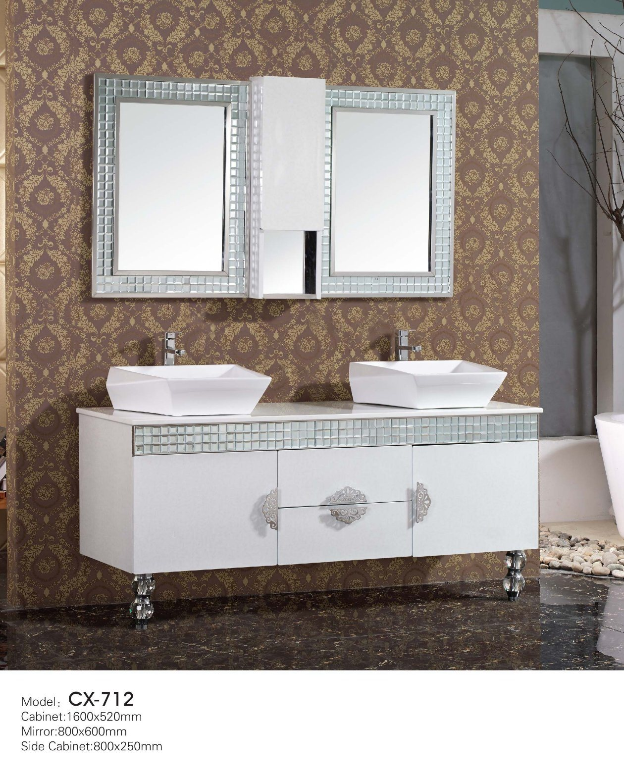 China Modern Stainless Steel Bathroom Cabinet with Double Diamond ...