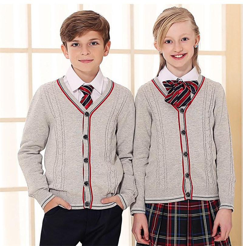 [Hot Item] Custom Made School Uniform V Neck Cardigan Sweater