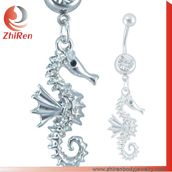 Hot Item Zhiren Stainless Steel Navel Ring Steel Belly Ring Navel Bar Ring