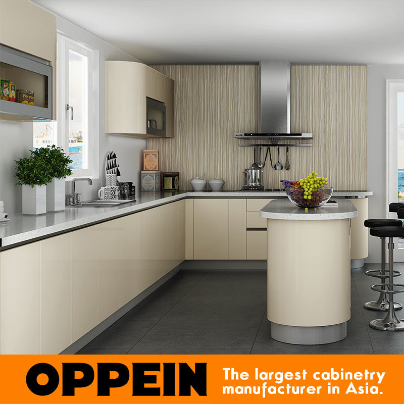 [Hot Item] Oppein Contemporary Light Color Acrylic Wood Kitchen Cabinet  (OP15-A03)