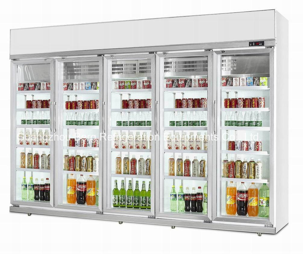China Glass Door Beverage Refrigerator For Supermarket Equipment