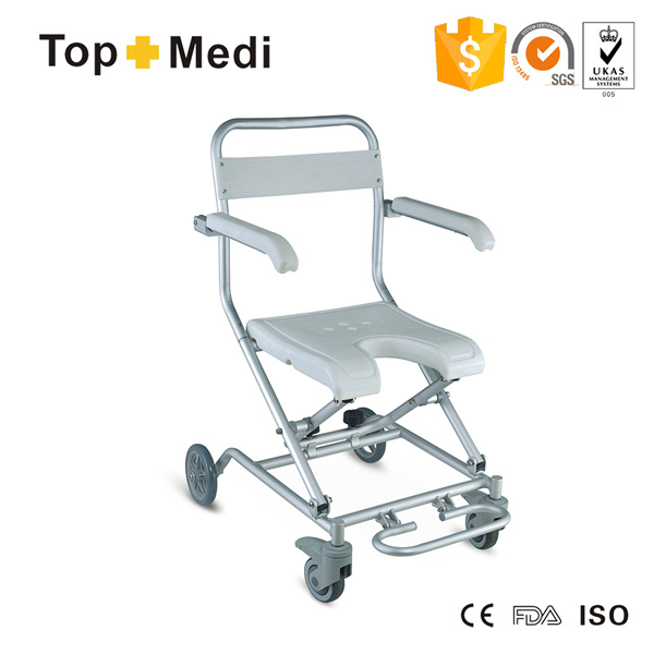 Swell Hot Item Topmedi Hot Sale Aluminum U Shape Folding Bath Bench Shower Chair With Wheels Machost Co Dining Chair Design Ideas Machostcouk