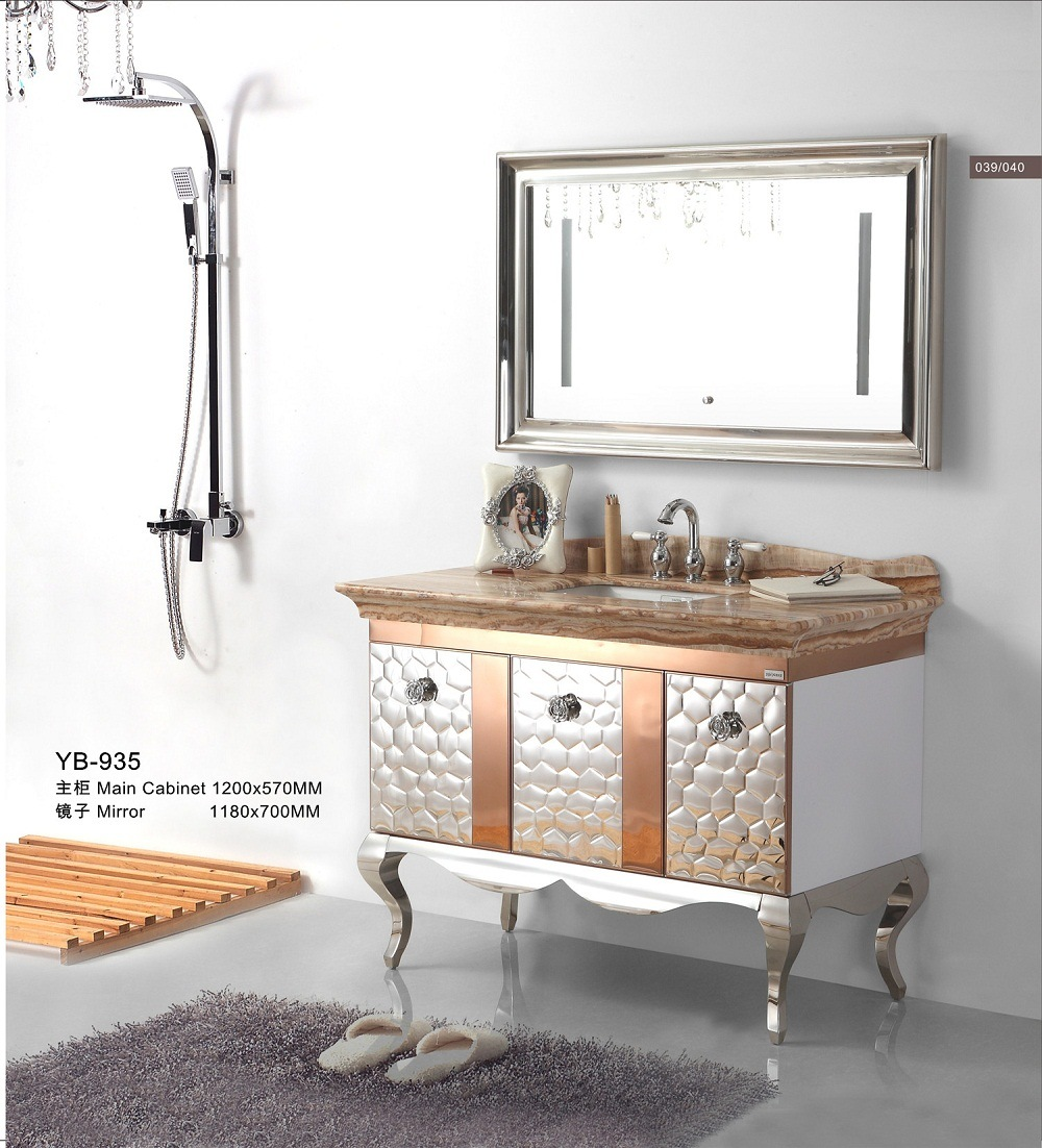China Silver on Floor Modern Mirrored Stainless Steel Bathroom ...