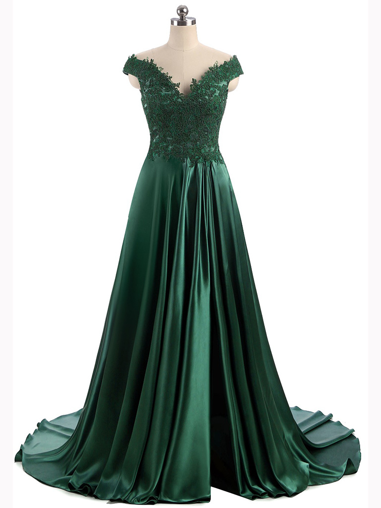 China Long Evening Gown Shawl Sleeve Split Design Satin Dress ...