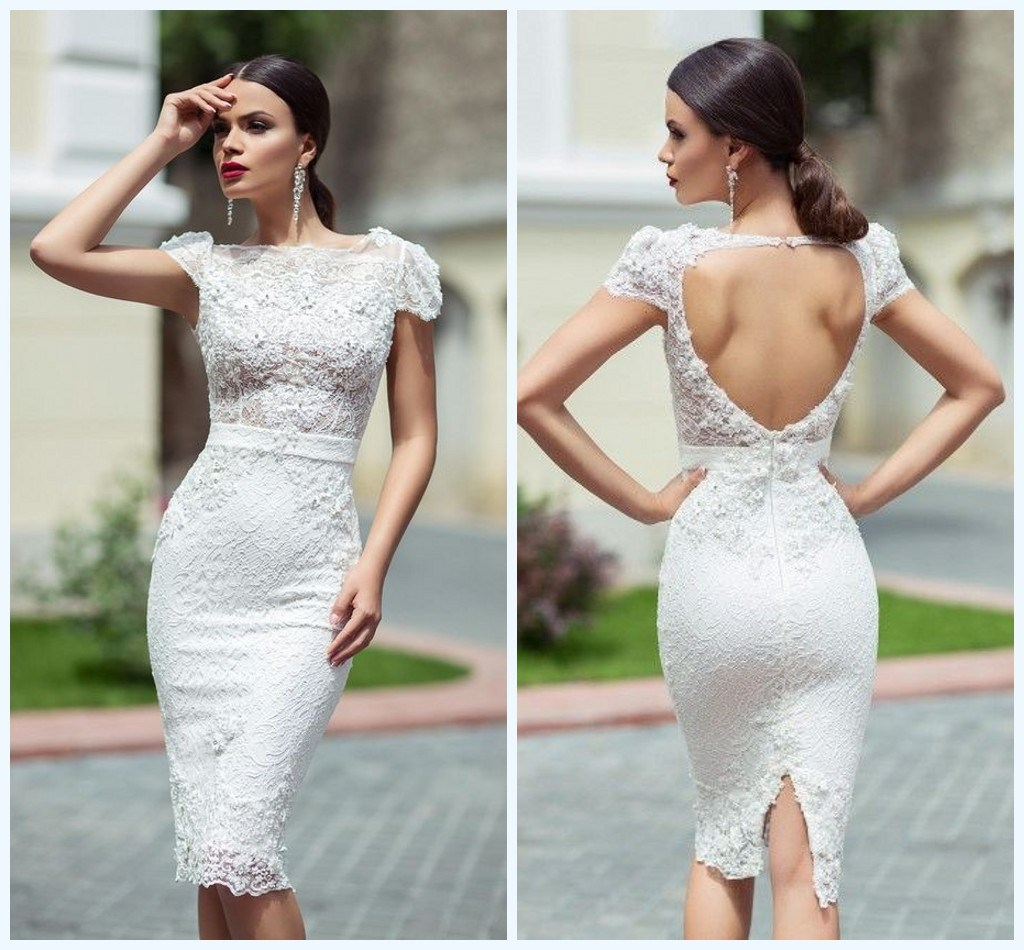 Hot Item Short Wedding Dress Cap Sleeves Lace Country Beach Sheath Bridal Gown H018