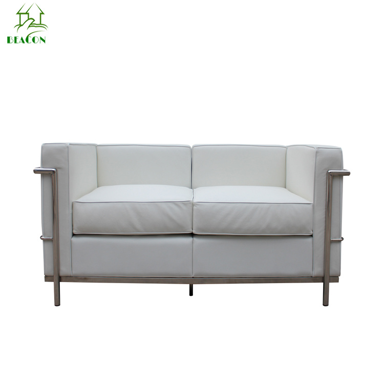 China Le Corbusier White Leather Lc2 Two Seater Sofa China