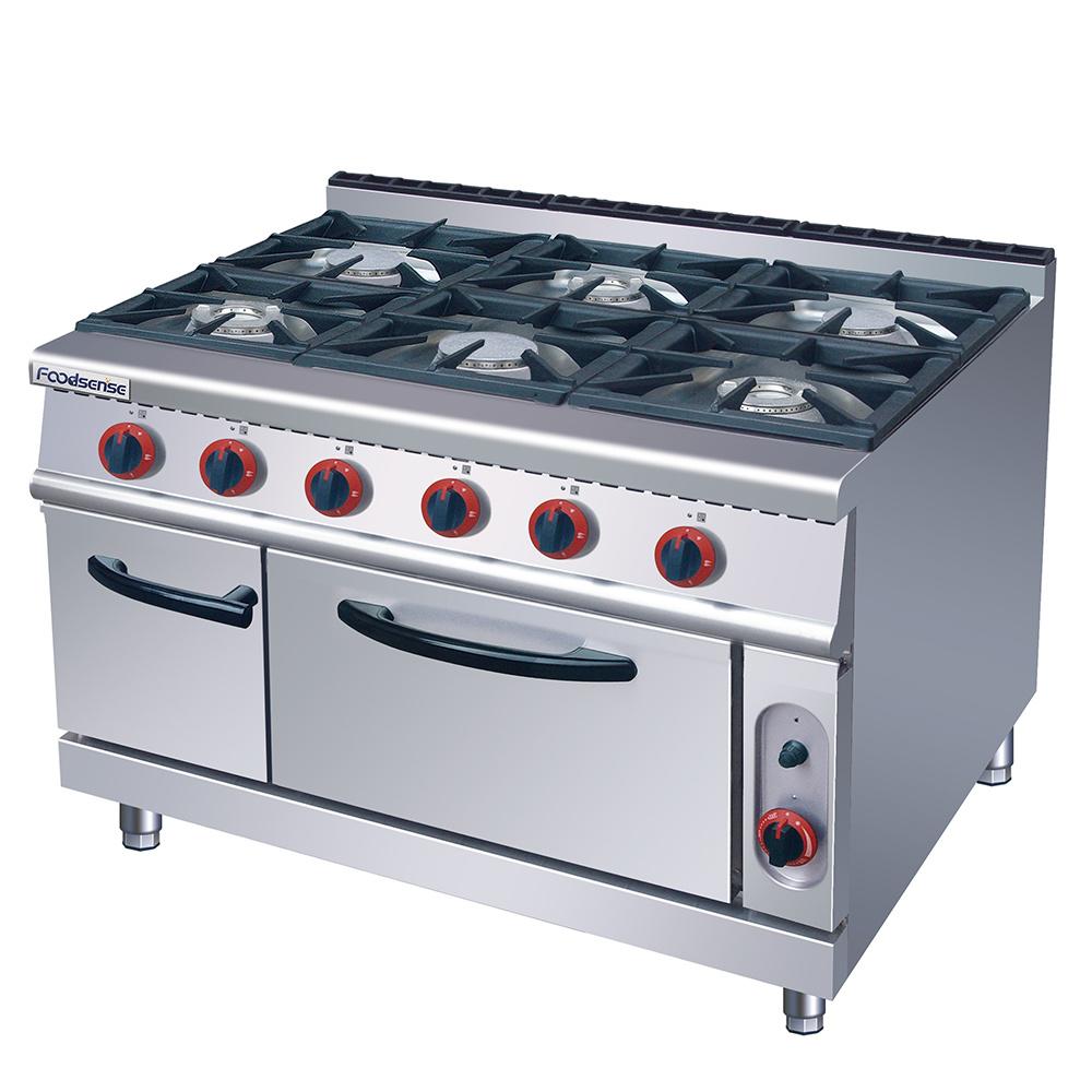 China Hotel Kitchen Equipment List 6 Burner Gas Range With Gas Oven China Combination Oven Kitchen Equipment