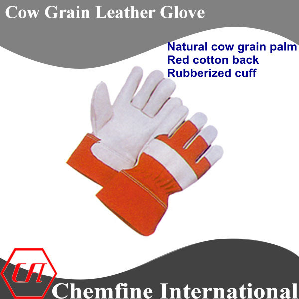 Natural Cow Grain Palm, Red Cotton Back, Rubberized Cuff Leather Work Gloves
