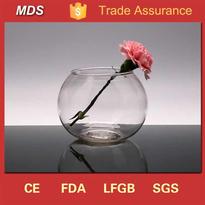 China Wholesale Transparent Round Glass Fish Bowl Vase China Fish