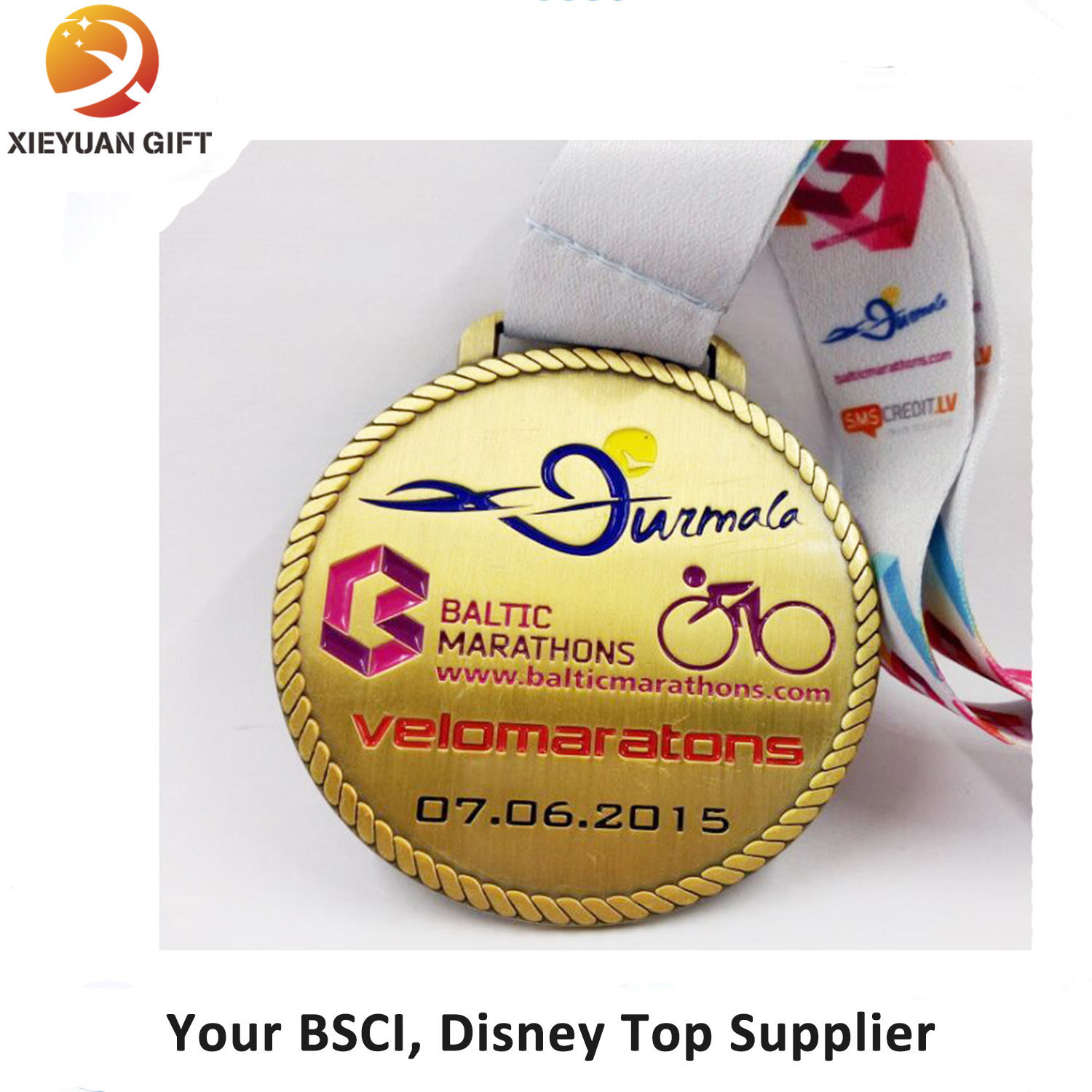 [Hot Item] Custom Gold Plating Cycle Race Medal with Ribbon