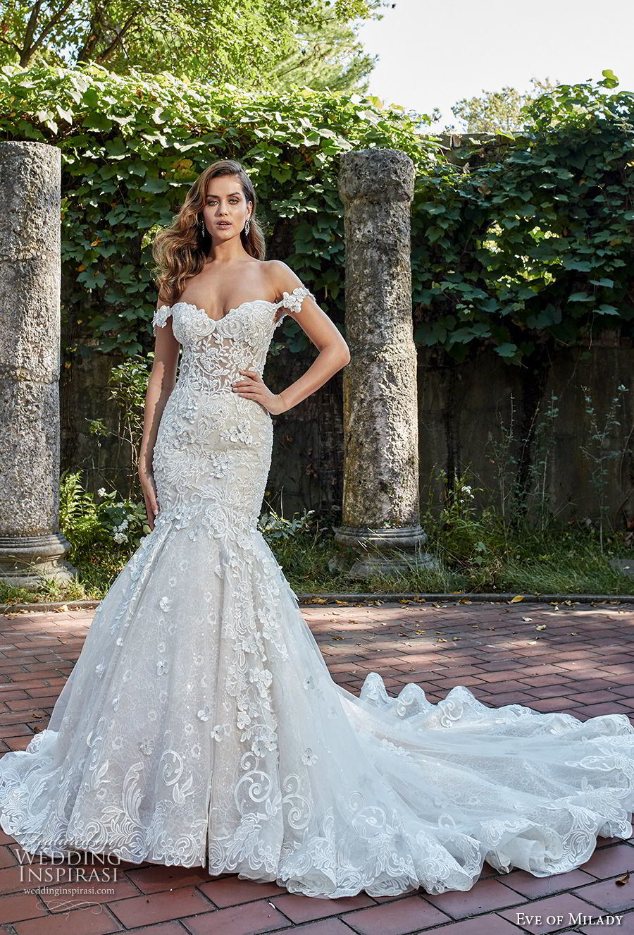China Off Shoulder Bridal Gowns 2018 Lace Mermaid Beaded Wedding Dress Ml2018 Prom