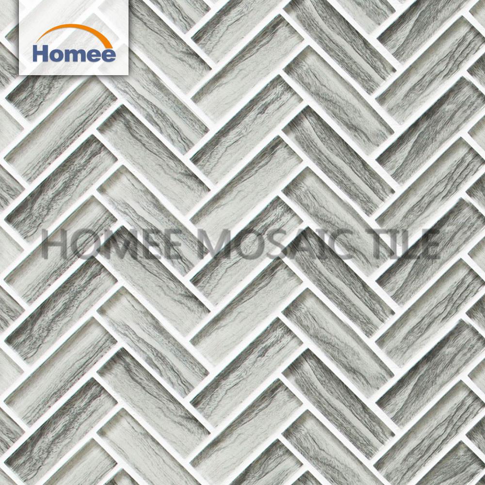 - China Wood Grey Bathroom Herringbone Glass Tile Mosaic Wall