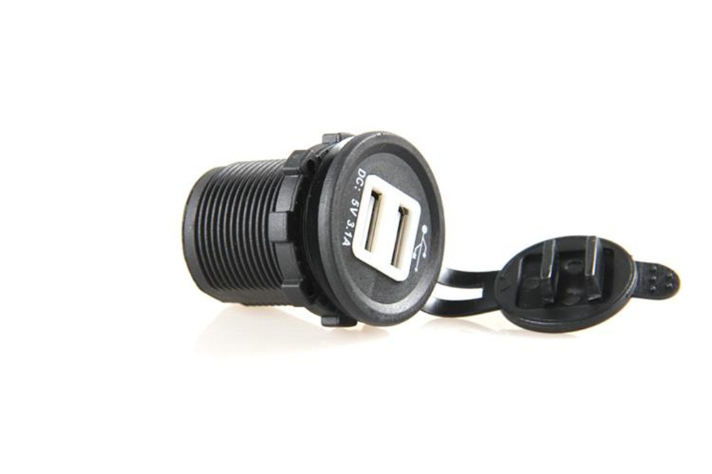 Motorcycle Car Boat Waterproof Dual USB Power Socket Adapter