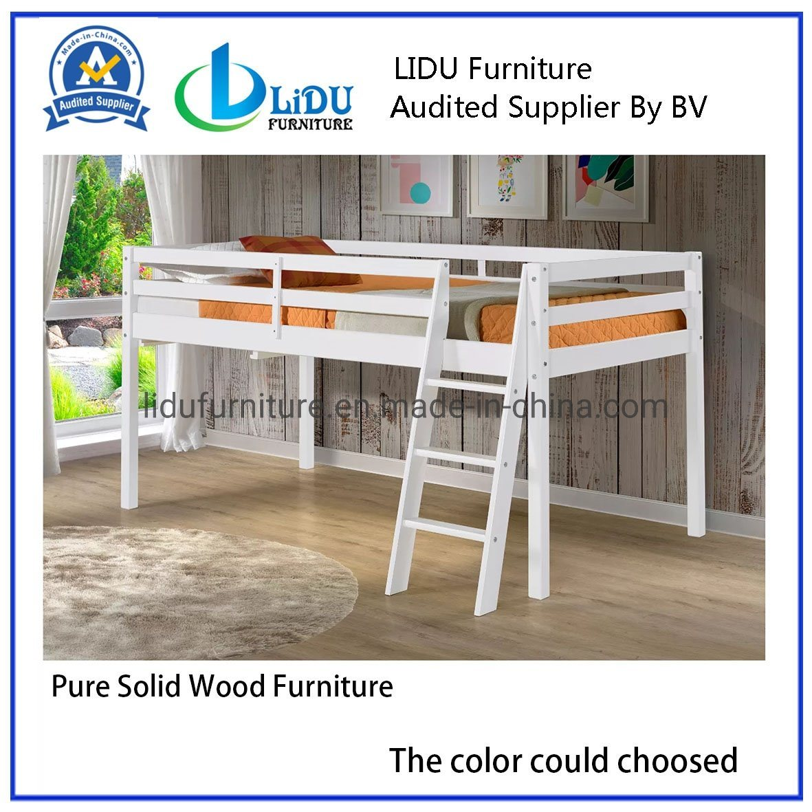 China Latest Wooden Kids Bed With Slide Bookcase Table Pine