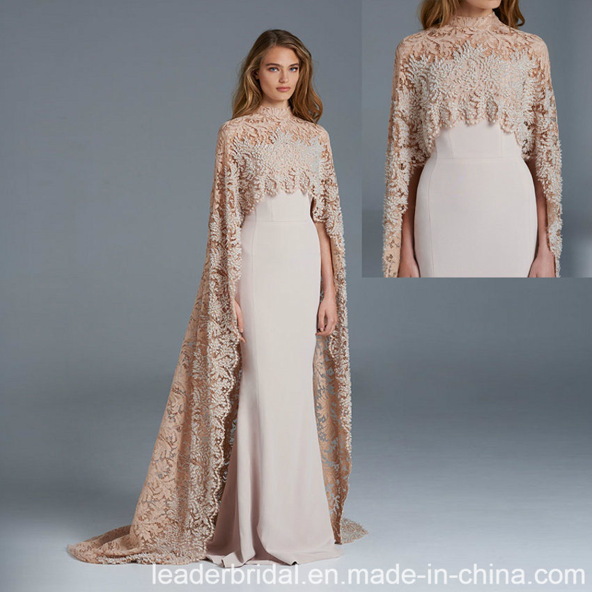China Arabic Formal Gown Long Shawl Champagne Lace Evening Dress ...